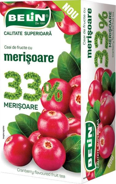 Ceai de fructe cu merisoare 33 % , 20 pl,40gr, 9+1 gratis 0