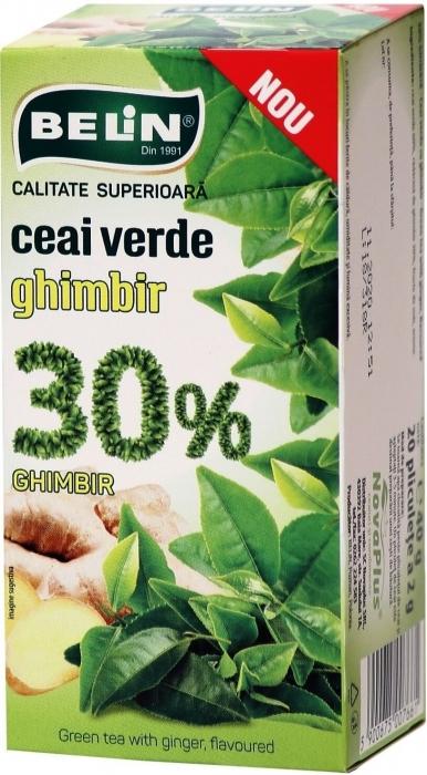 Ceai verde cu ghimbir 30%, 20pl, 40gr, 9+1 gratuit 0