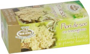 Ceai flori de soc cu lemongrass 20 pl, 30 gr